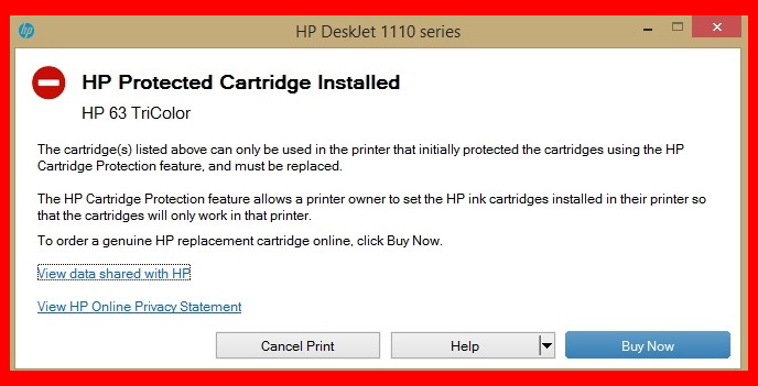 HP protected cartridge error